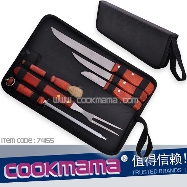 6pcs bbq knife set with carry bag