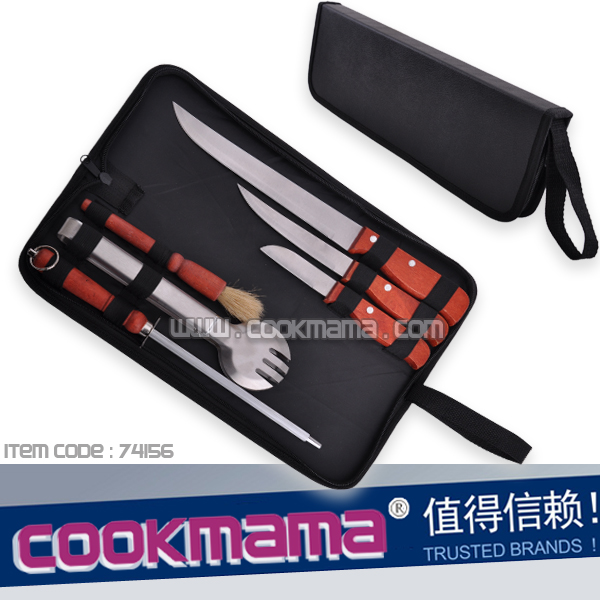 6pcs bbq tools and knives with carry bag