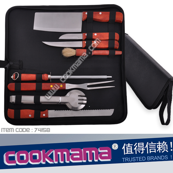 8pcs wood handle knives and bbq tools with carry bag