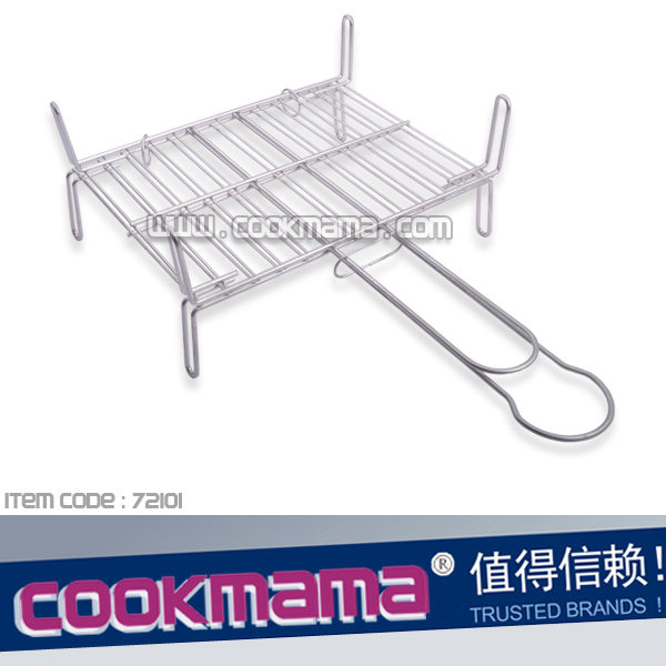 galvanized platedl grilling basket with legs 30x25cm