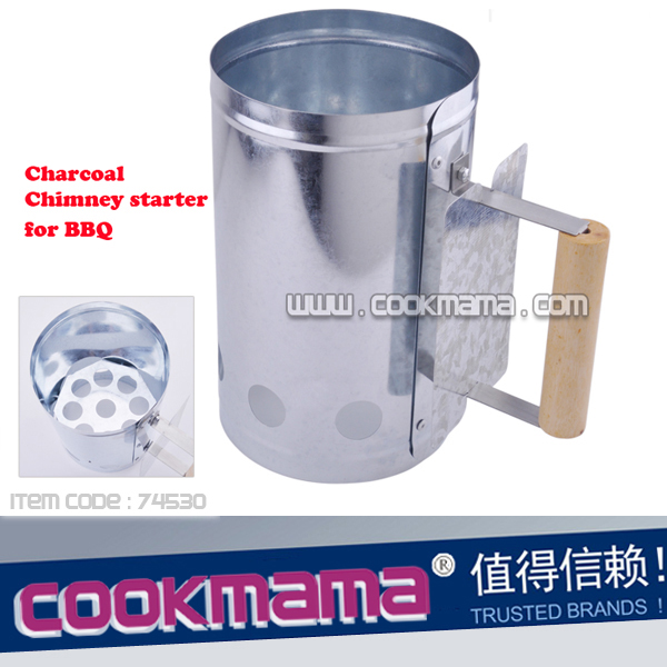 charcoal chimney starter for BBQ with wood handle
