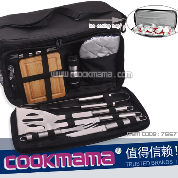 12-Piece BBQ tool Set with Built-In ice Cooler Bag