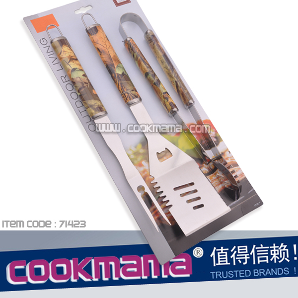 3pcs camo pattern bbq tool set