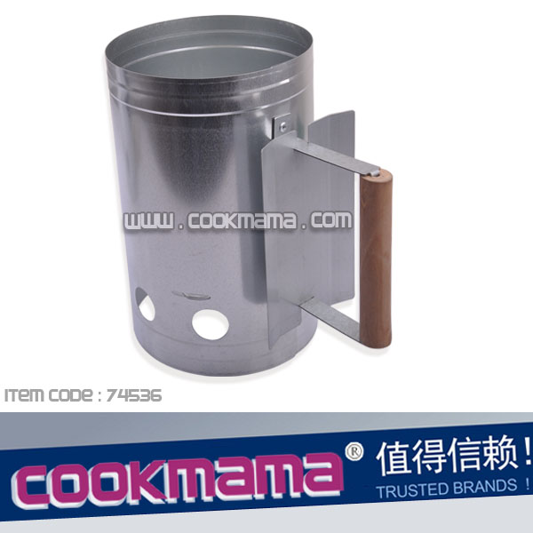 bbq charcoal starter,charcoal chimney starter for BBQ with wood handle