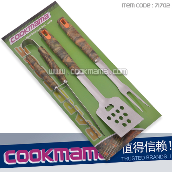 3pcs camo handle bbq tool set with card board