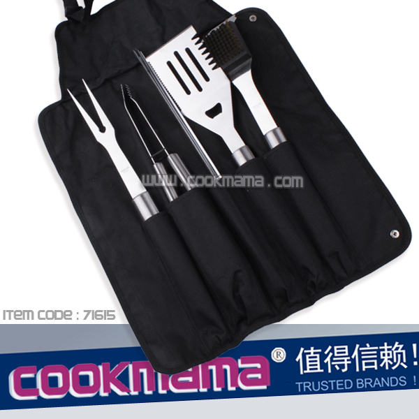 8pcs stainless steel 430 handle bbq tool set with NYLON bag